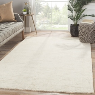 Solids Solids & Heather Pattern Ivory/White Wool and Cotton Area Rug (2' x 3')