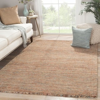 Solids Tribal Pattern Brown Wool and Cotton Area Rug (2' x 3')