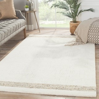 Solids Border Pattern Ivory/Beige Wool and Cotton Area Rug (2' x 3')
