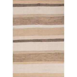 Flatweave Stripes Pattern Beige/Ivory Cotton Area Rug (2' x 3')