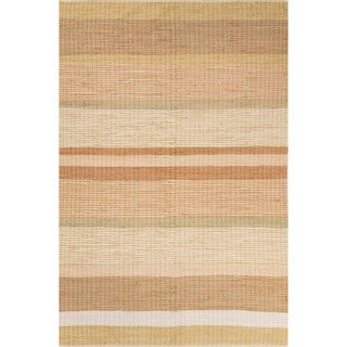 Flatweave Stripes Pattern Beige/Orange Cotton Area Rug (2' x 3')