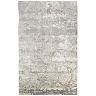 Contemporary Abstract Pattern Gray/Ivory Bamboo Silk Area Rug (2' x 3')