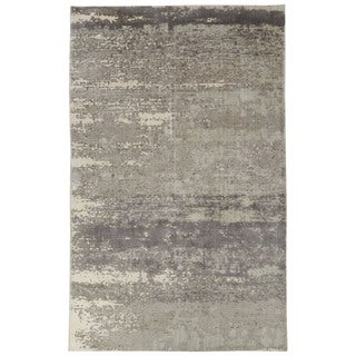 Contemporary Abstract Pattern Ivory/Gray Bamboo Silk Area Rug (2' x 3')