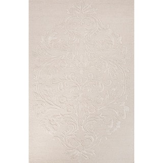 Contemporary Damask Pattern Ivory/White Wool and Art Silk Area Rug (2' x 3')