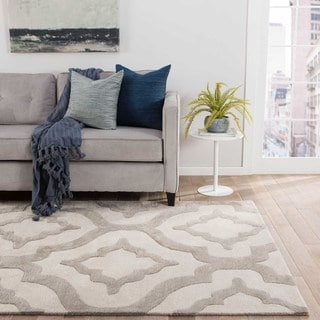 Contemporary Trellis, Chain And Tile Pattern Ivory/White Wool and Art Silk Area Rug (2' x 3')