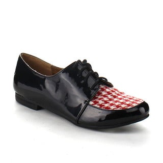 Beston AA95 Women's Lace Up Woven Fabric Oxfords