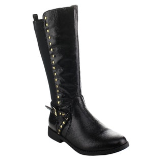 EDDIE MARC 6212 Girl's Half Stretch Side Zipper Studded Knee High Riding Boots