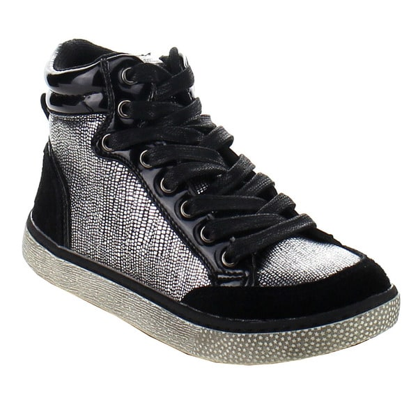 EDDIE MARC 5224 Girl's Metallic Lace Up Casual Hi-Top Sneaker