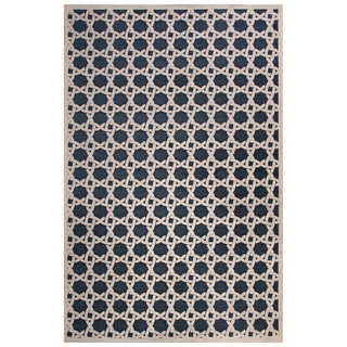 Contemporary Trellis, Chain And Tile Pattern Blue/Ivory Rayon Chenille Area Rug (9' x 12')