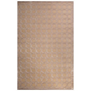 Contemporary Trellis, Chain And Tile Pattern Ivory/Beige Rayon Chenille Area Rug (9' x 12')