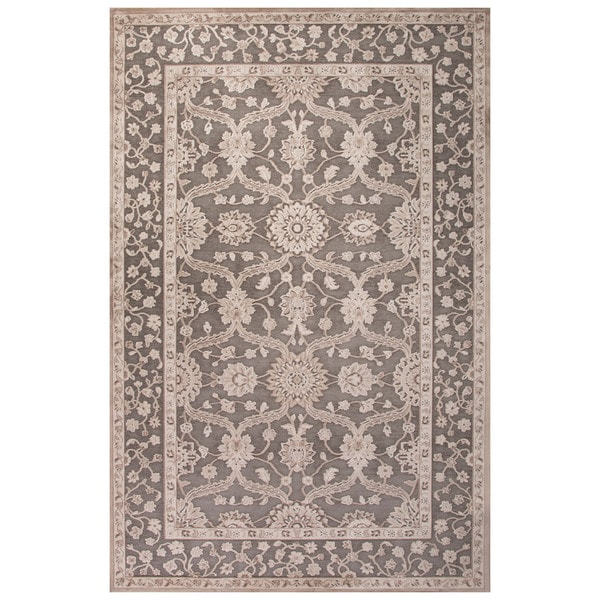 Classic Oriental Pattern Gray/Tan Rayon Chenille Area Rug (7'6 x 9'6)