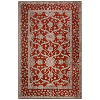 Classic Oriental Pattern Red/Gray Rayon Chenille Area Rug (9' x 12')