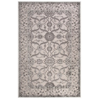 Classic Oriental Pattern Ivory/Gray Rayon Chenille Area Rug (9' x 12')