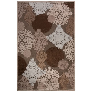 Contemporary Damask Pattern Gray Rayon Chenille Area Rug (9' x 12')