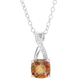 H Star Sunset Topaz and Diamond Accent Pendant Necklace