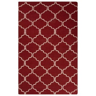 Flatweave Trellis, Chain And Tile Pattern Red Wool Area Rug (9' x 12')