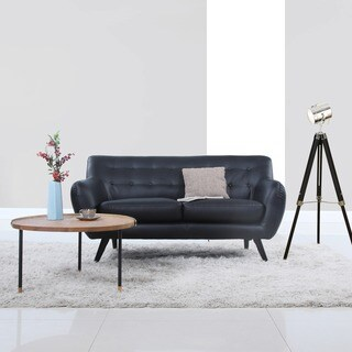 Mid Century Modern Bonded Leather Loveseat Living Room Furniture
