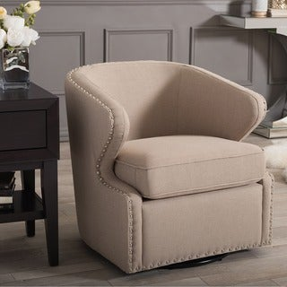 Baxton Studio Finley Mid-century Modern Beige Fabric Upholstered Swivel Armchair