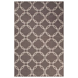Flatweave Trellis, Chain And Tile Pattern Gray/Ivory Wool Area Rug (9' x 12')