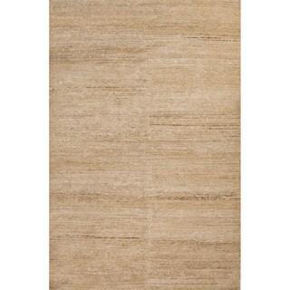 Luxury Solid Pattern Taupe/Ivory Hemp Area Rug (9' x 12')