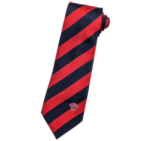 Versace 100-percent Italian Silk Red/ Navy Blue Stripe Neck Tie