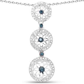 Malaika Sterling Silver 1/2ct TDW Blue and White Diamond Pendant (I-J, I2-I3)