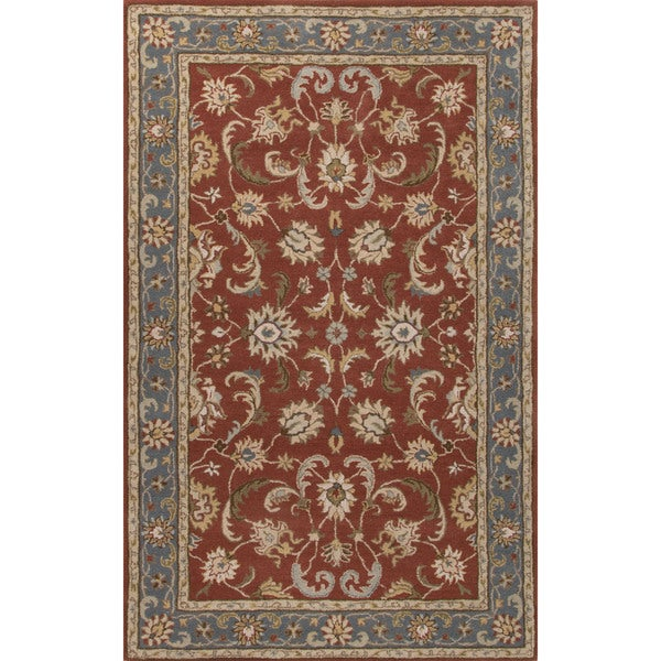 Classic Oriental Pattern Red/Blue Wool Area Rug (8' x 10') 17149197