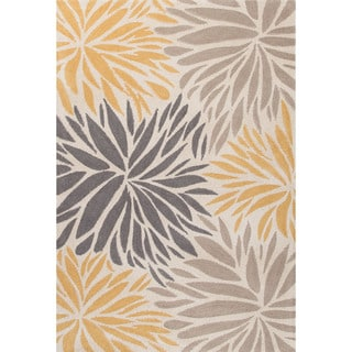 Contemporary Floral & Leaves Pattern Yellow/Dark Gray Polyester Area Rug (2' x 3')