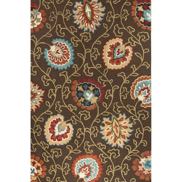 Contemporary Floral & Leaves Pattern Brown/Orange Polyester Area Rug (2' x 3')