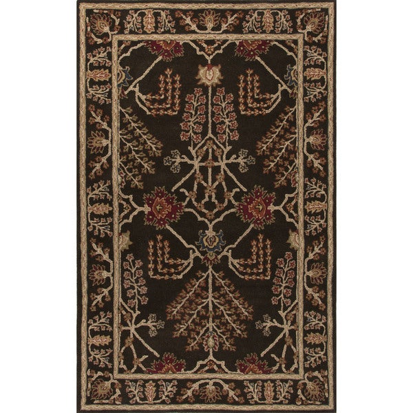 Classic Oriental Pattern Dark Gray Wool Area Rug (2' x 3')