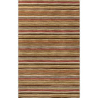 Contemporary Stripes Pattern Orange/Yellow Wool Area Rug (2' x 3')