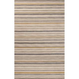 Contemporary Stripes Pattern Gray/Neutral Wool Area Rug (2' x 3')