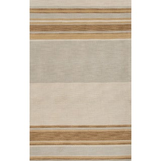 Contemporary Stripes Pattern Yellow/Gray Wool Area Rug (2' x 3')