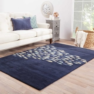 Contemporary Coastal Pattern Blue/Ivory Wool and Art Silk Area Rug (2' x 3')