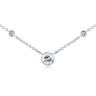 Annello 14k White Gold 1/3ct TDW 3-Bezel Round Diamond Necklace (G-H, I1-I2)