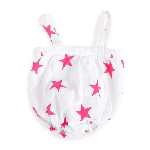 Aden and Anais Baby Girls Newborn Pink Star Muslin Romper