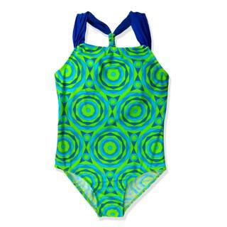 Jump'N Splash Girls' Green Geometric One Piece