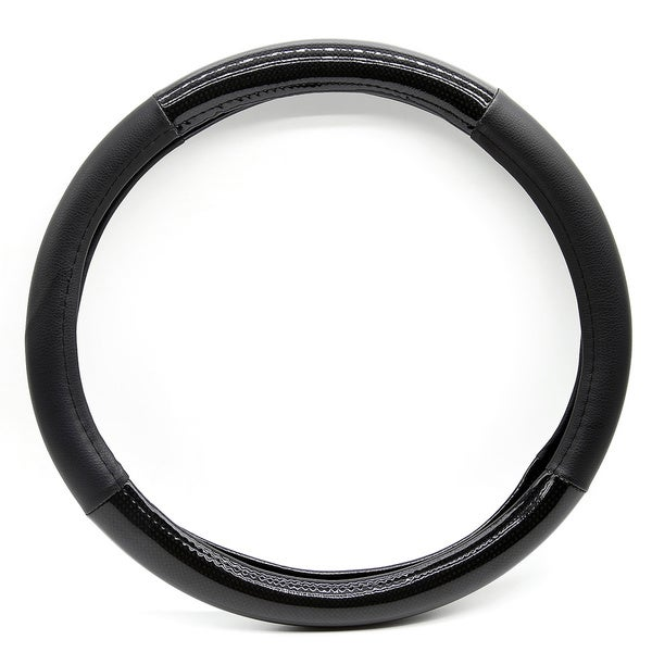 Fit 15-inch Black and Carbon Steering Wheel Cover