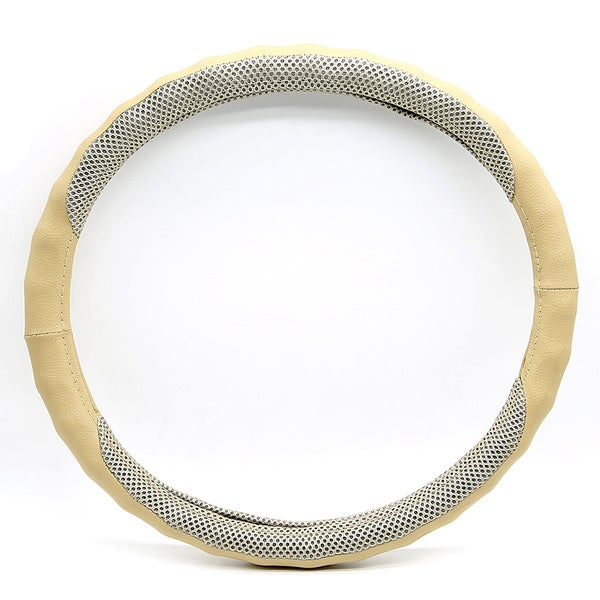 Fit 15-inch Beige Steering Wheel Cover