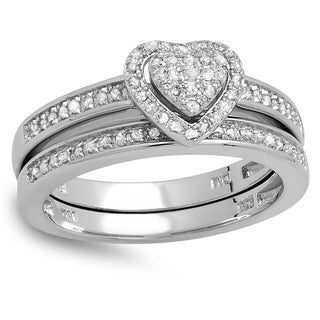 Sterling Silver 1/4ct TDW Diamond Heart Bridal Set (I-J, I2-I3)