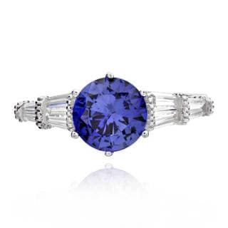 Sterling Silver 2.5ct Round Created Blue Sapphire and Cubic Zirconia Ring (China)