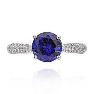 Sterling Silver 2ct Round Created Blue Sapphire and Cubic Zirconia Solitaire Ring (China)