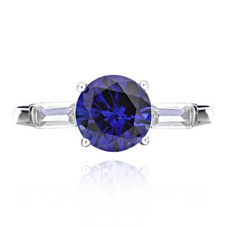 Sterling Silver 2ct Created Blue Sapphire and Cubic Zirconia 3-Stone Ring (China)