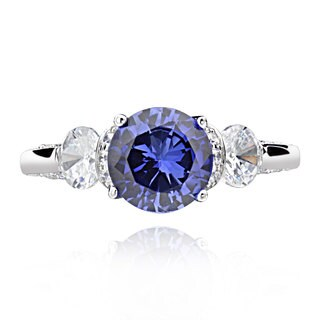 Sterling Silver 2.5ct Created Blue Sapphire and Cubic Zirconia 3-Stone Ring (China)