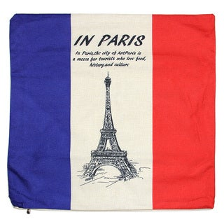 June Lily 18-inch French Flag Cotton Linen Throw Pillow Cover