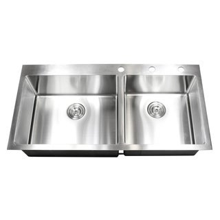 43-inch 15mm Radius Topmount Drop-In Stainless Steel Double Bowl Kitchen Sink