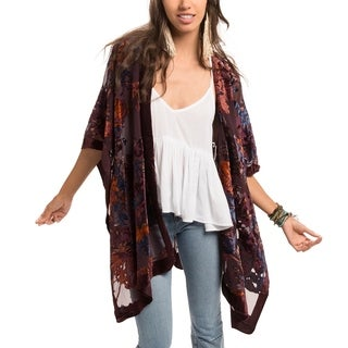 Saachi Women's Flower Velvet Open Front Poncho (China)