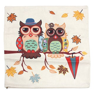 June Lily 18-inch Owl Couple and Leaves Cotton Linen Throw Pillow Cover
