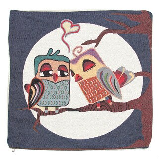 June Lily 18-inch Owl Couple with Heart Throw Pillow Cover