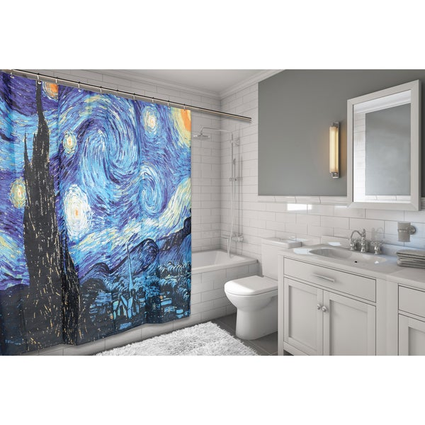 The Starry Night Fabric Shower Curtain